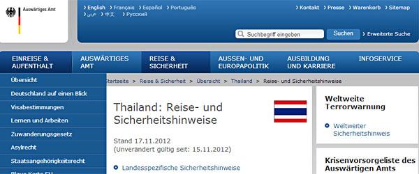 Reisehinweis vom Auswärtigen Amt für Bangkok